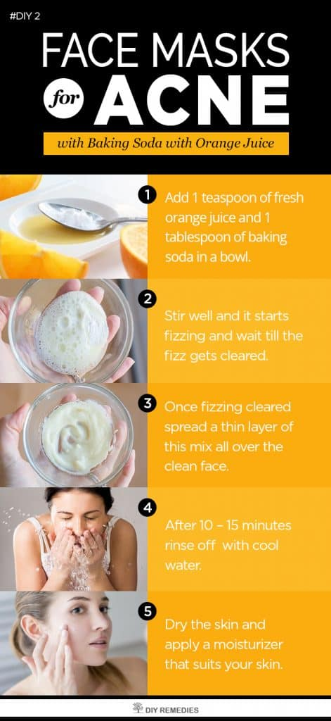 Baking Soda with Orange Juice Face Masks for Acne